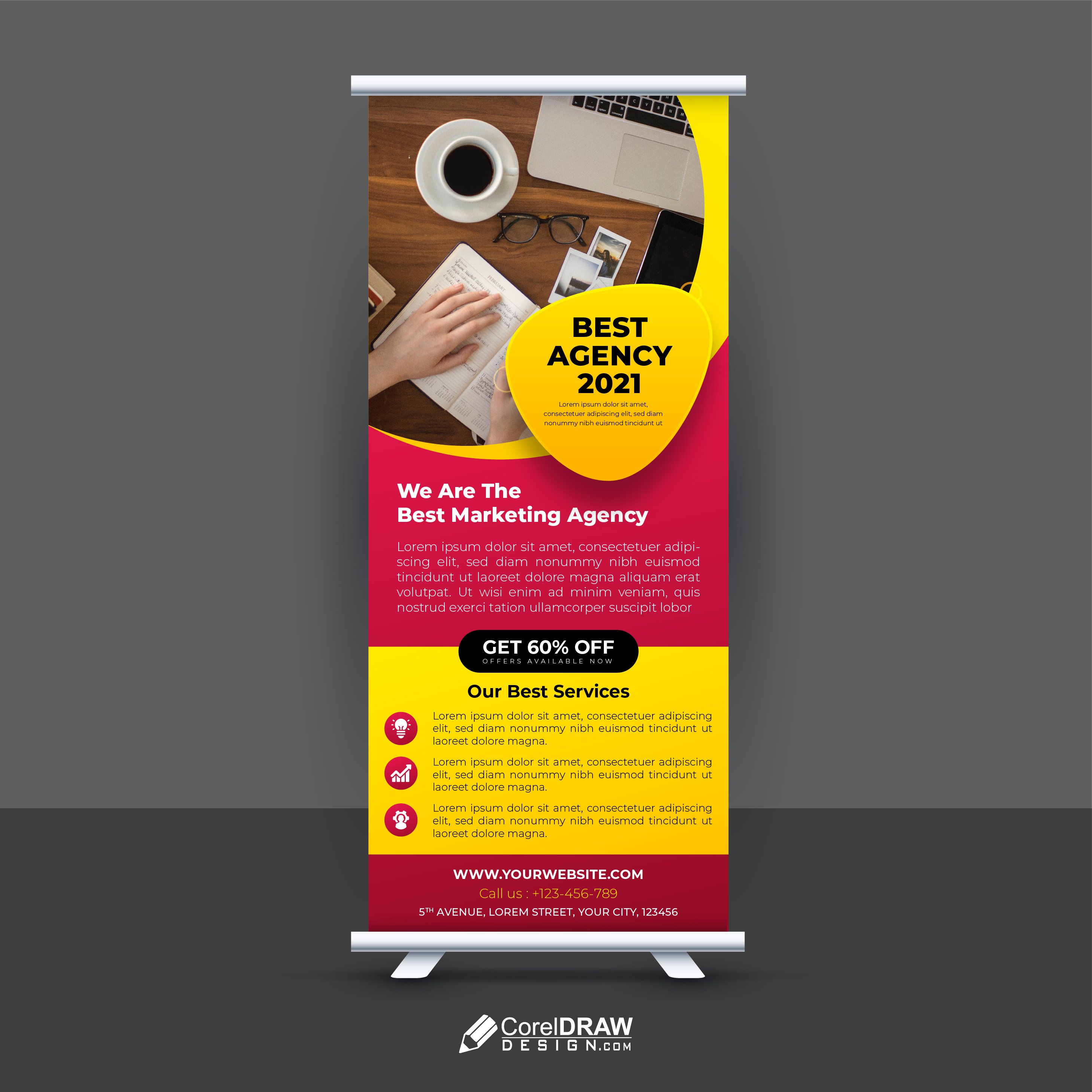 Abstract Colorful Roll up banner template