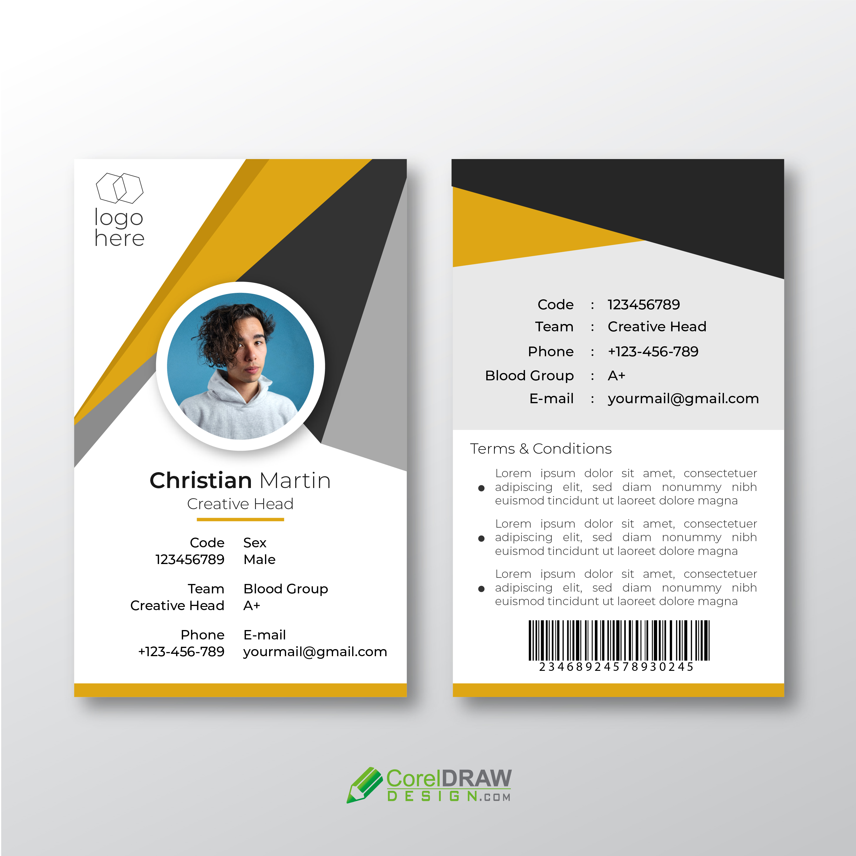 Abstract Corporate Company Identity Card Template