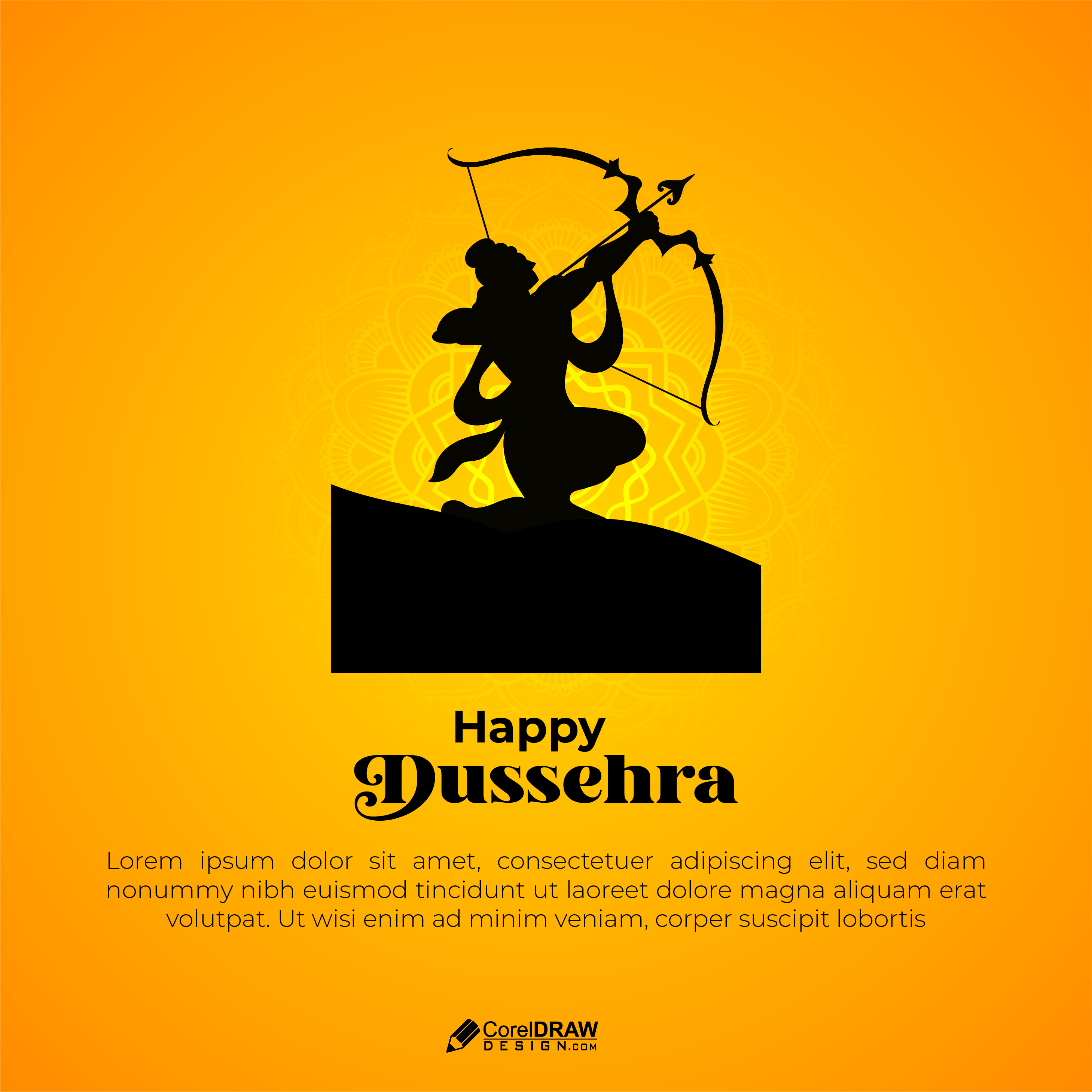 Abstract Lord Rama Ready To Fight Dussehra Vector