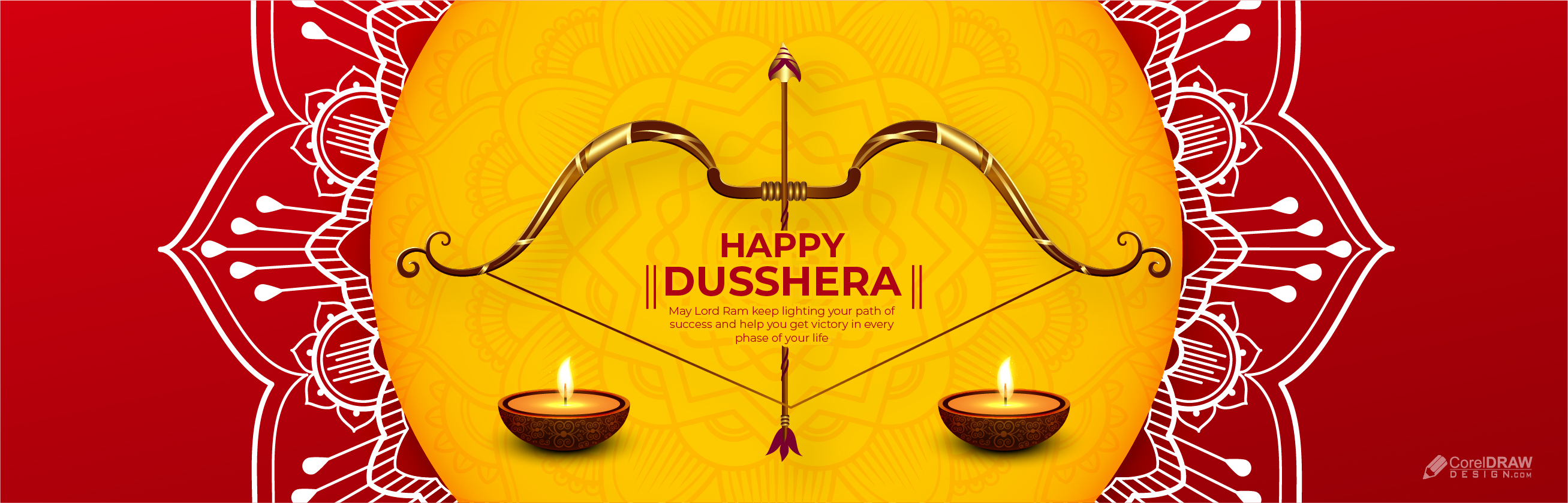 Abstract Traditional Happy Dusshera Banner Vector