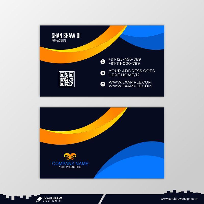 Blue Wavy Business Card Premium Vector