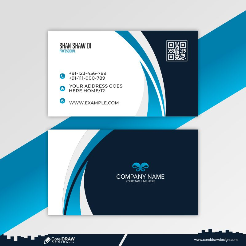 Company Business Card In Blue Color Free Vector