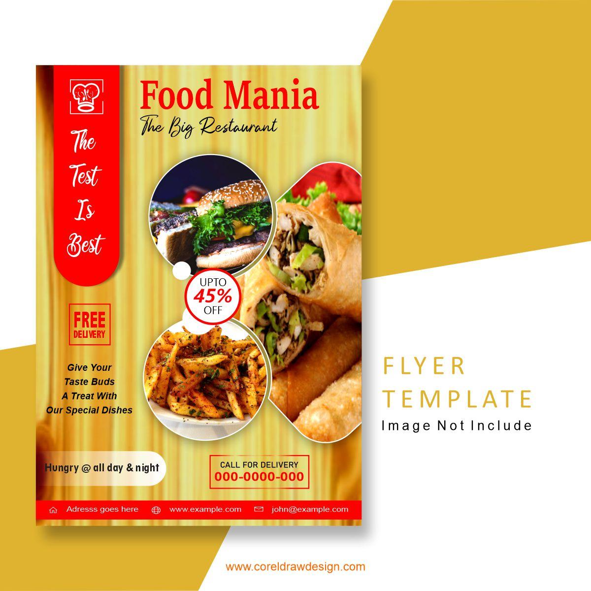Download Food Mania Flyer Design Vector Template