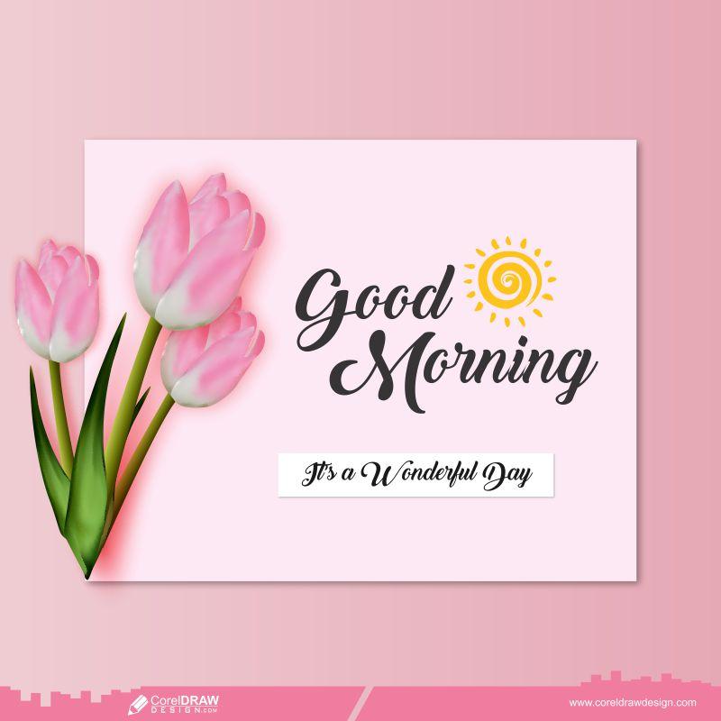 Good Morning Beautiful Tulips & Sun Free Premium Vector