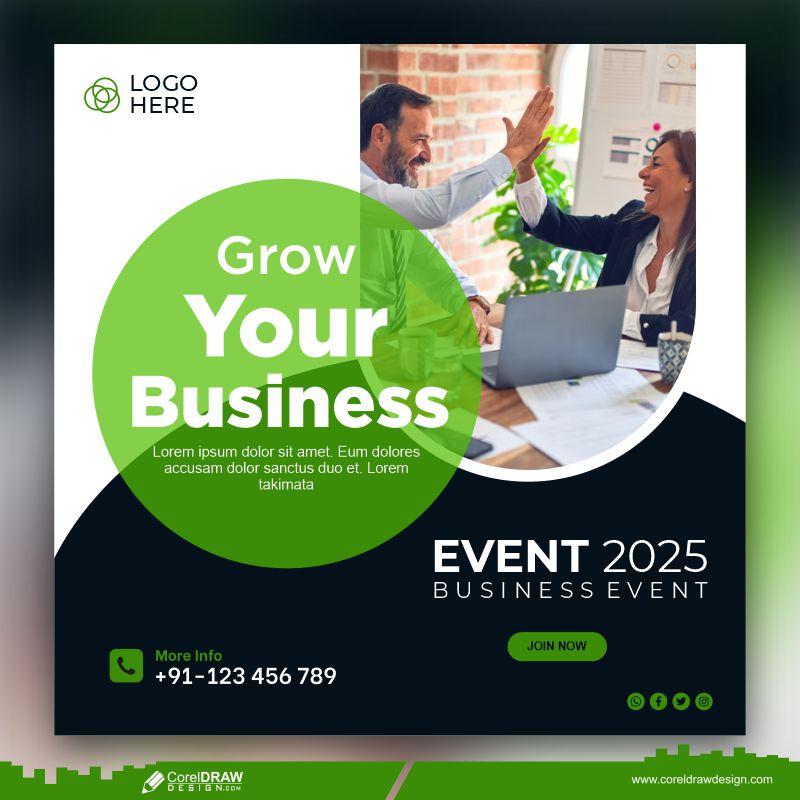 Grow Your Business Social Media Post Banner Template Premium Vector
