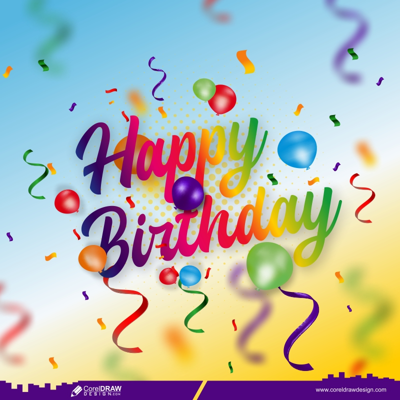 Happy Birthday Celebration Background With Realistic Balloons Free Vector