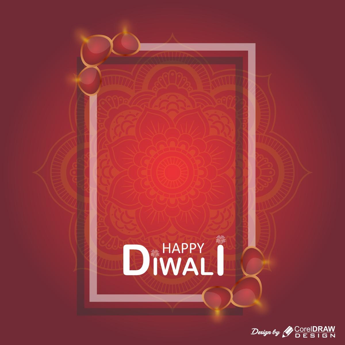 Download Happy Diwali Background With Mandala Coreldraw