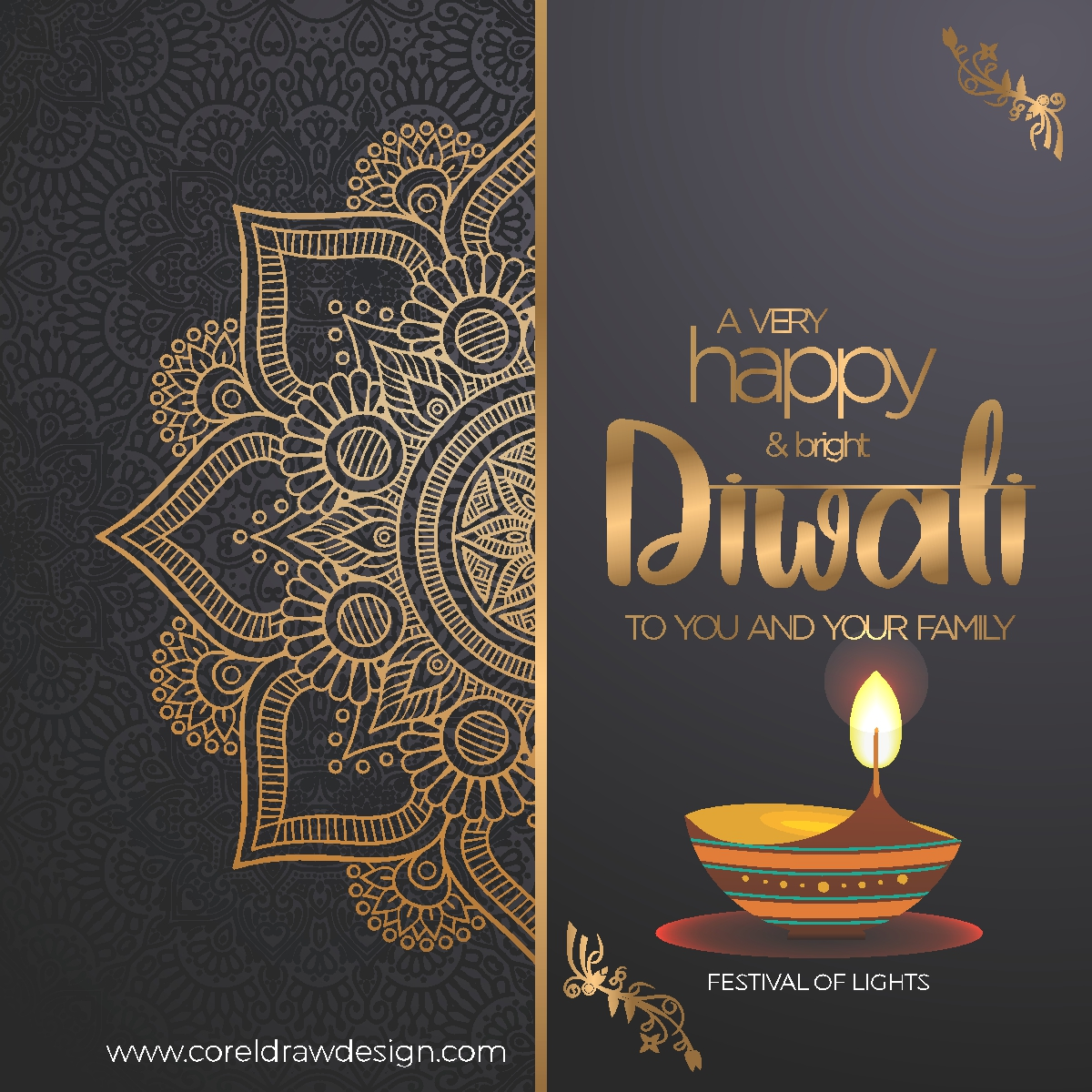 Happy Diwali Greetings with luxury background