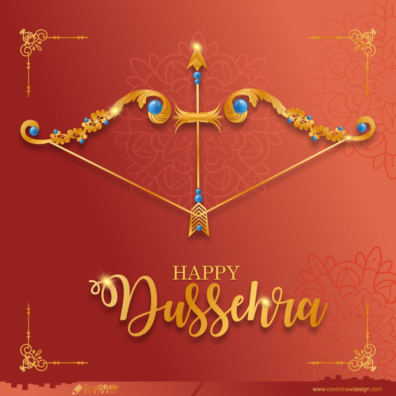 Happy Dussehra Festival Celebration Bow and Arrow Free Vector