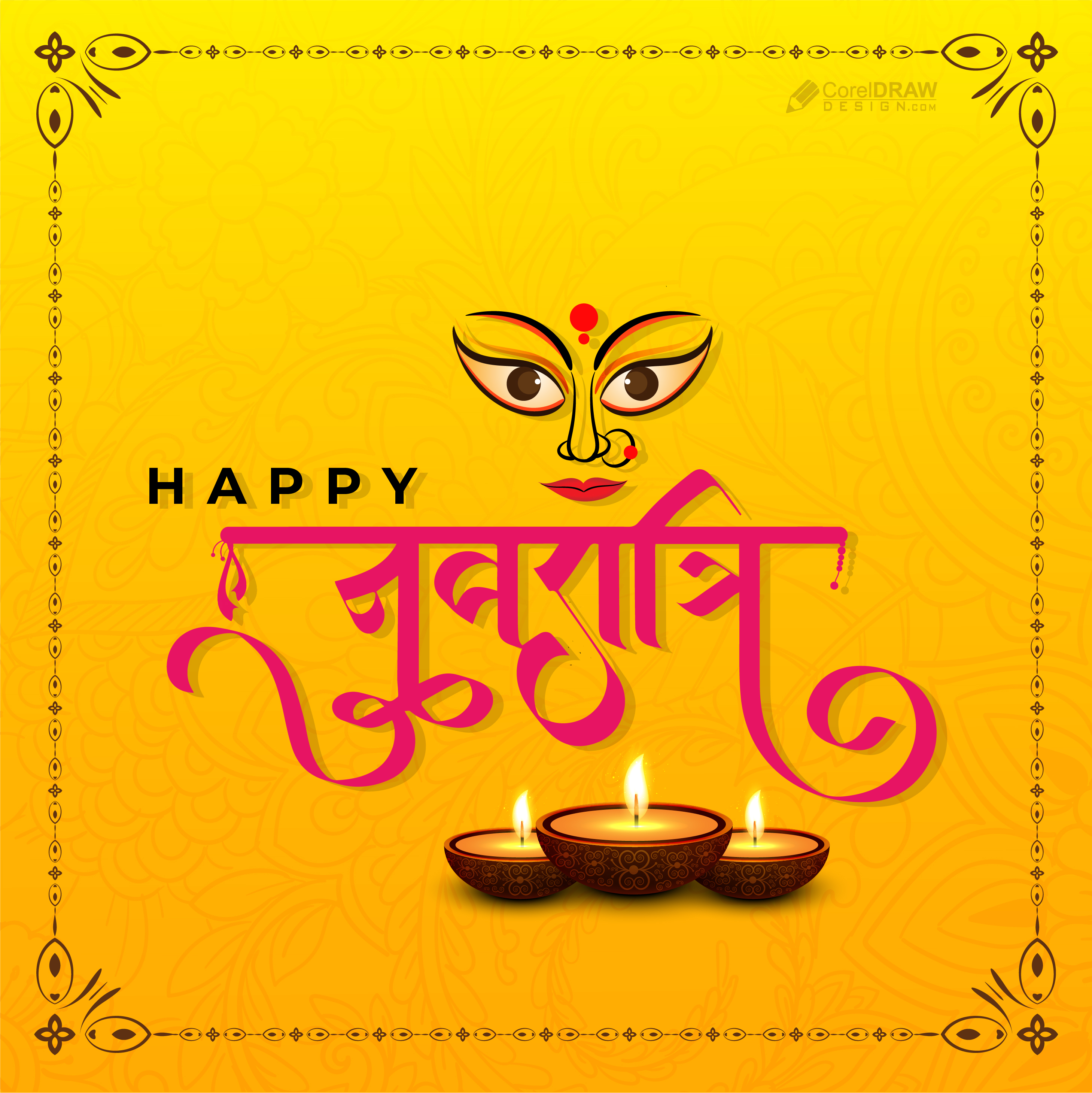 Happy Navratri Ethnic Cultural Indian  Festival Background Wishes Card