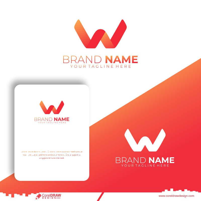 Letter W Logo With Abstract Concept Premium Vector