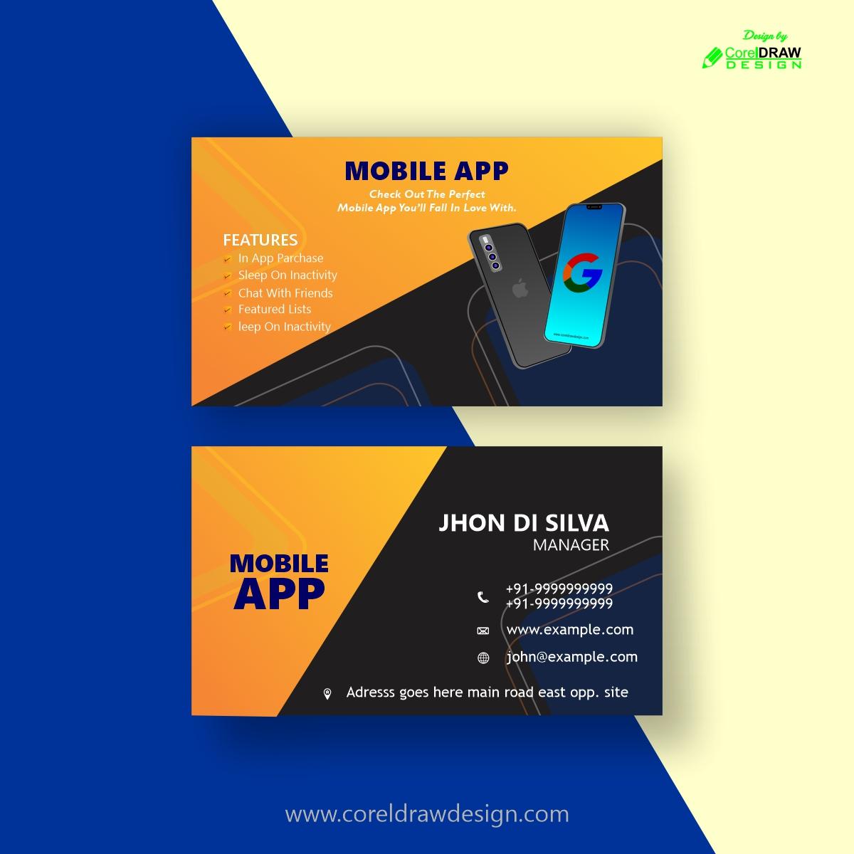 Download Mobile App Business Card Design   CorelDraw Design ...