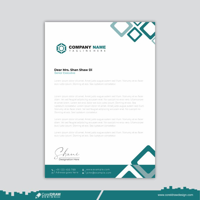 Professional Letterhead Template Design Free Vector