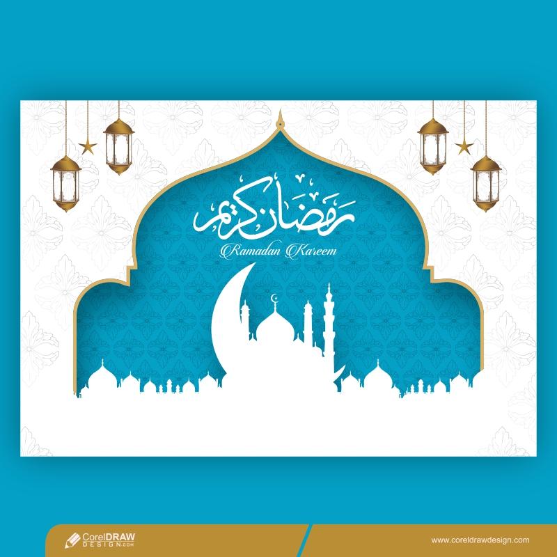 Ramadan Kareem 2021 Elegant Blue And White Design Free Vector