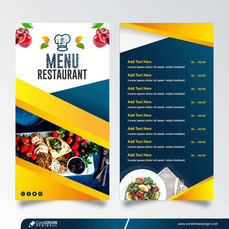 Restaurant Menu Card Design Free Vector Template