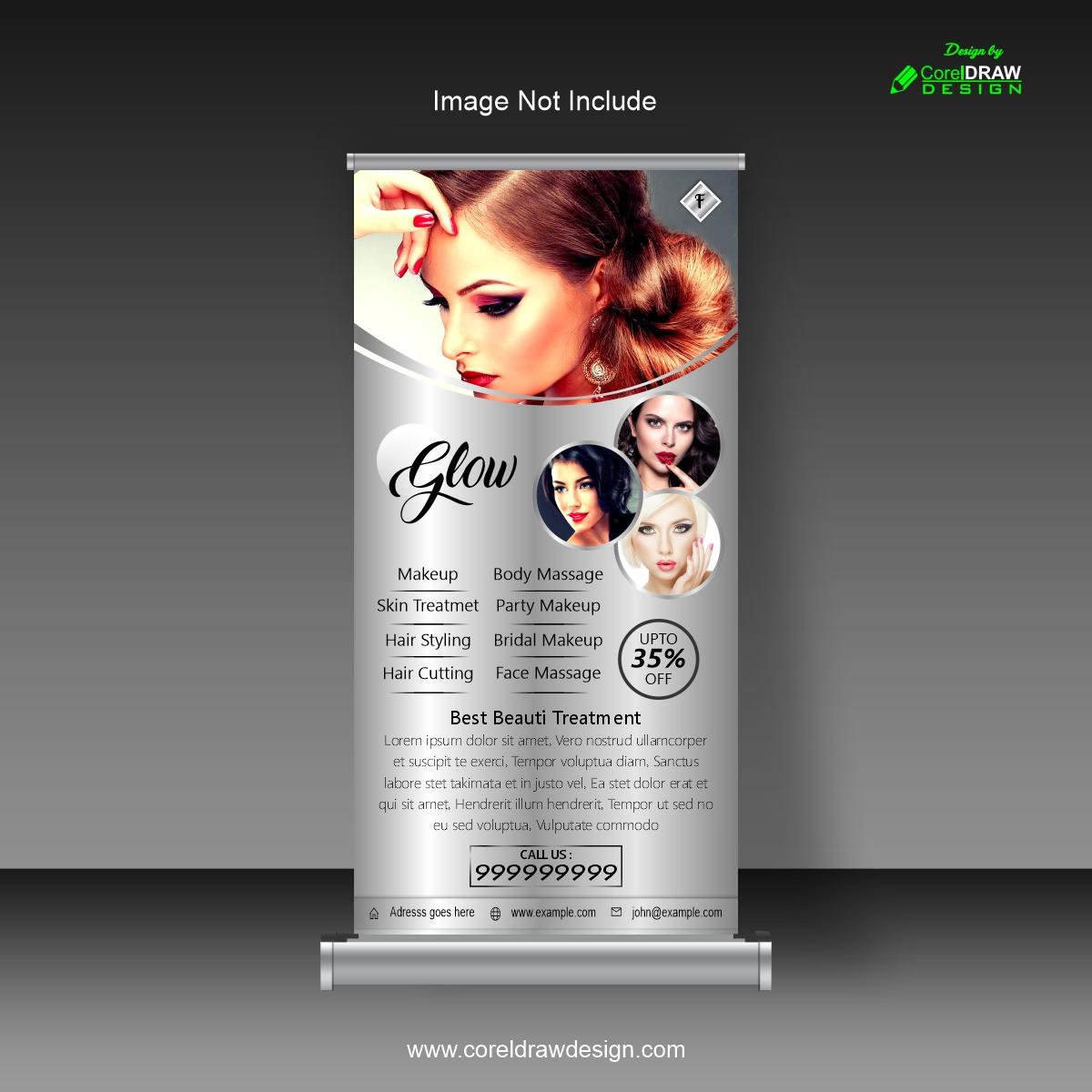 Download Roll Up Banner Glow Beauty Salon Design Coreldraw Design Download Free Cdr Vector Stock Images Tutorials Tips Tricks