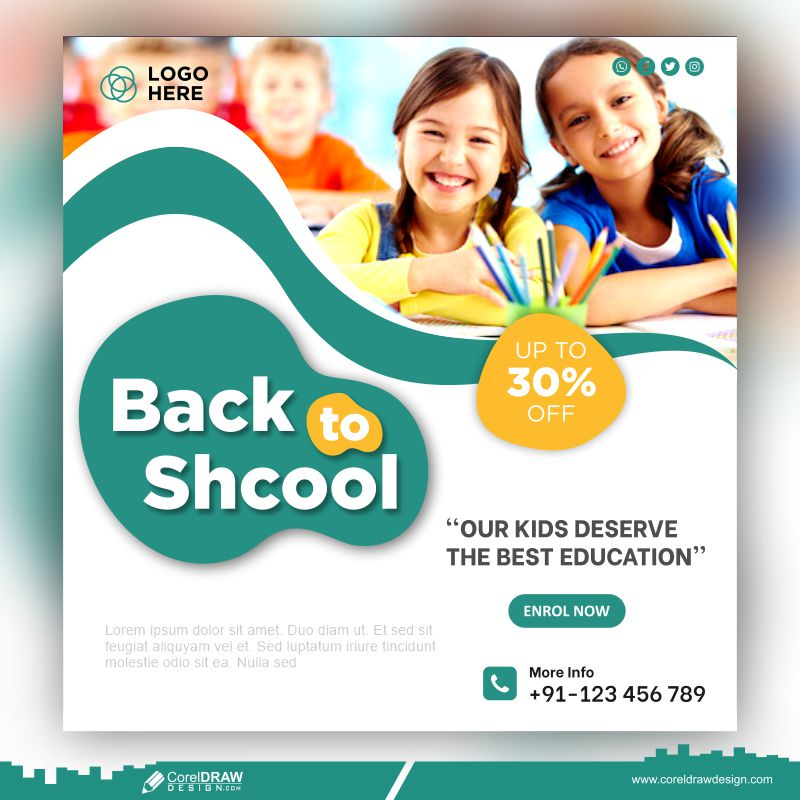 School Admission Banner Template Premium Vector