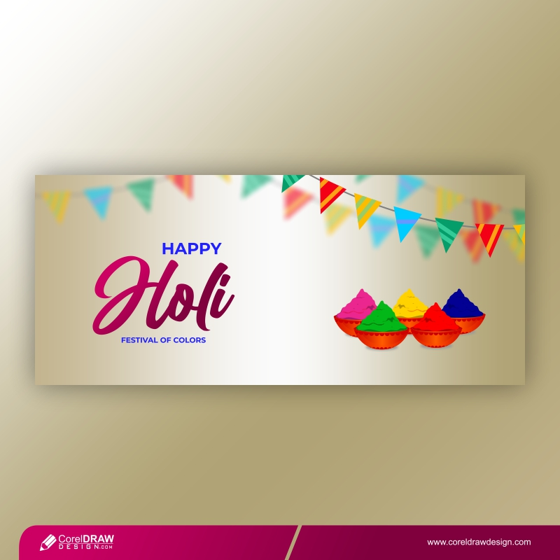 Traditional Colorful Gulaal Powder Color Indian Festival For Happy Holi Card Free Vector