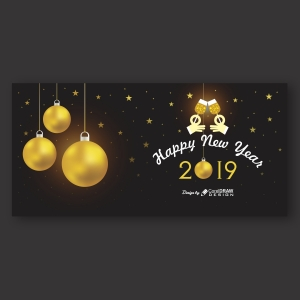 Happy New Year Banner with Golden Balls
