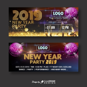 Shiny New Year Party Banner with images