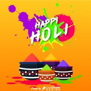 Abstract happy holi festival greeting