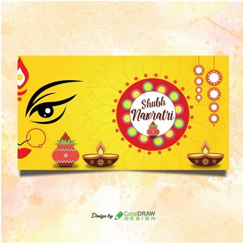 Shubh Navratri Banner with Mandala Design