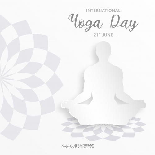 International Yoga Day-White 3D Paper style