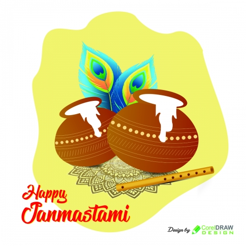 Happy Janmashtami Vector Art Banner