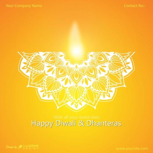 Happy diwali with mandala & diyaa