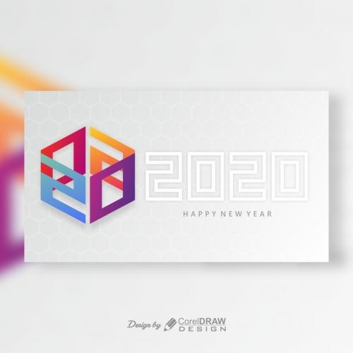 Happy New Year Hexa Shape 2020
