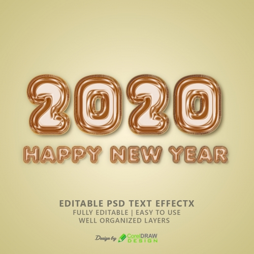 2020 Happy New Year Foil Balloon Text Effect Template