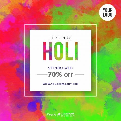 Holi Promotional Sale Banner