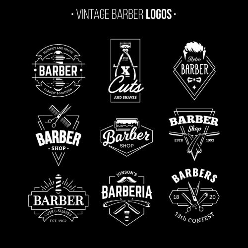A set of Vintage Barber Shop Logo Template