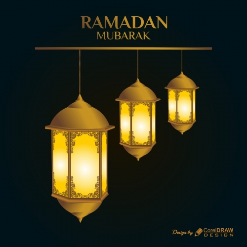 Golden Ramadan Mubarak Greeting Card with Lanterns
