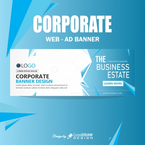 Corporate Banner With Particles Blue
