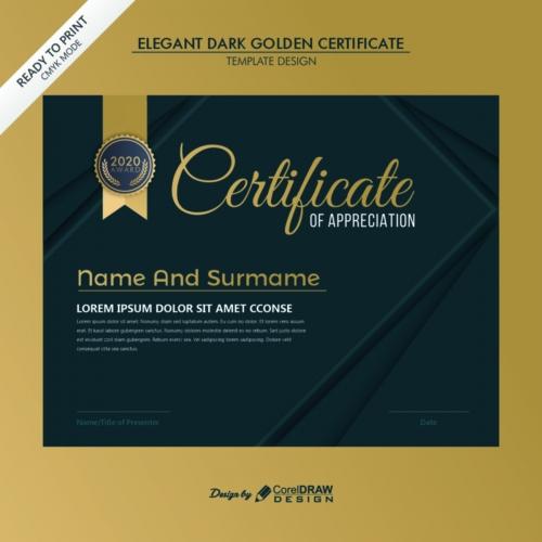 Elegant Dark Golden Certificate Template Design