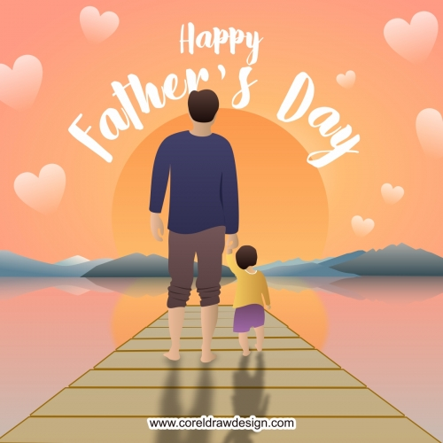 Happy Fathers Day with Dad & Child Flat Design