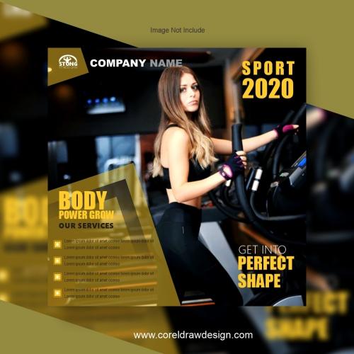 Fitness social media post template, instagram post