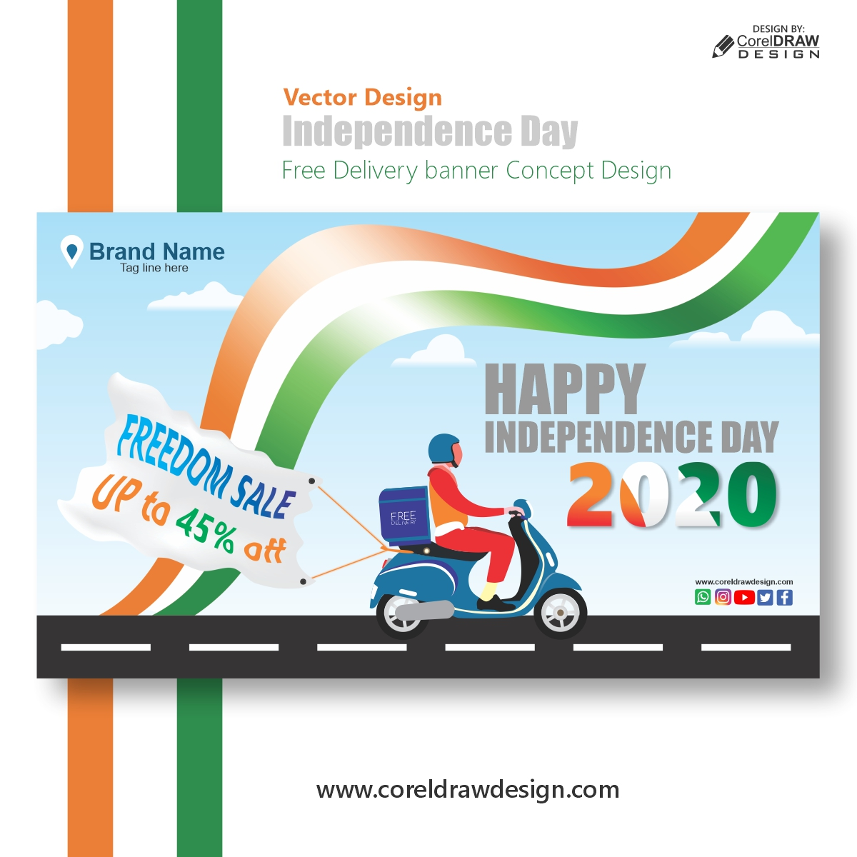 Independence Day  Free Delivery banner Concept Design