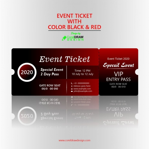 EVENT TICKET WITH COLOR BLACK & RED