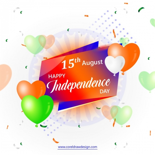 Realistic India Independence Day Balloon Background Vector