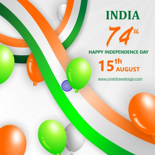 Realistic India Independence Day Balloon With Flag Background Vector