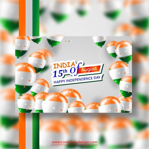 Celebrating India Independence Day Realistic Balloon Background
