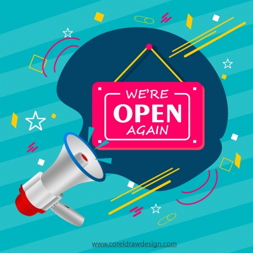 We Are Open Again Shop Lettering With Megaphone Vector Design