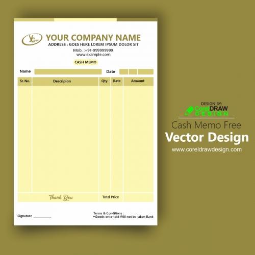 Cash Memo Free Vector Design