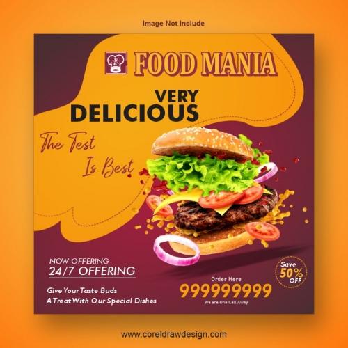Burger Restaurant Food Banner Template
