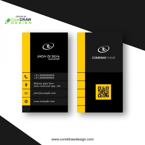 Elegant Minimal Black And Yellow Business Card Template Design