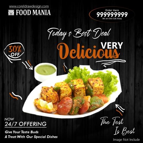 Paneer Tikka Restaurant Food Banner Template