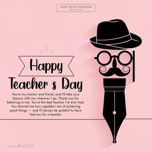 Happy Teachers Day Simple Creative Wish Greeting