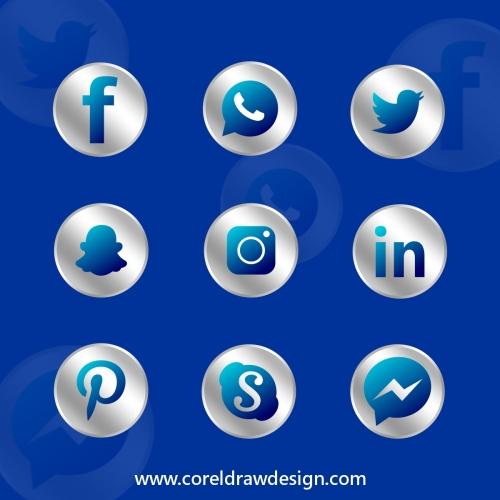 Social Media logo Black CDR Vector Design
